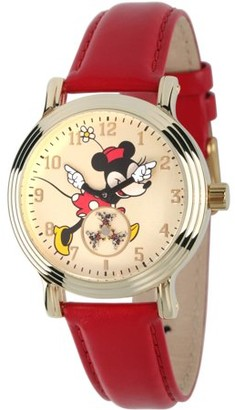 Disney Disney, Articulating Classic Minnie Mouse Red Polka Dot Dress Women's Gold Vintage Alloy Watch, Red Leather Strap