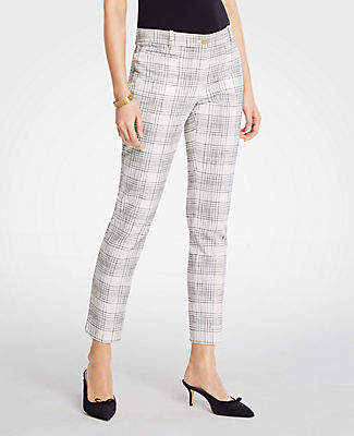 Ann Taylor The Petite Cotton Crop Pant In Variegated Plaid - Curvy Fit