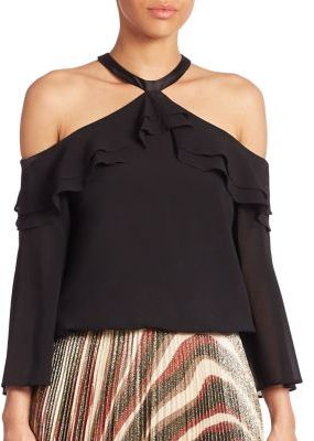 Alice + Olivia Layla Cold-Shoulder Top $295 thestylecure.com
