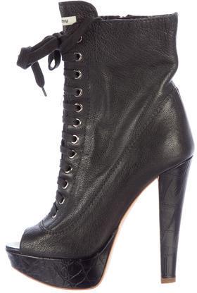 Miu MiuMiu Miu Leather Platform Ankle Boots