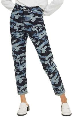Topshop Camo Diamante Mom Jeans (Indigo Multi)