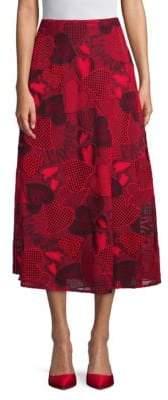 Valentino Heart A-Line Midi Skirt