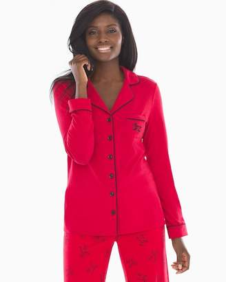 DAY Birger et Mikkelsen Embraceable Long Sleeve Notch Collar Pajama Top Pajamas All Red