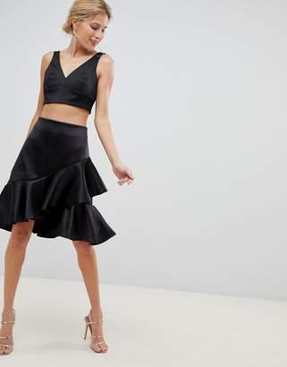 Closet London Premium Asymmetric Ruffle Front Skater Skirt