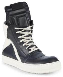 Rick Owens Leather High-Top Sneakers