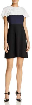 Paule Ka Tricolor Block Flutter Sleeve Dress