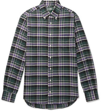 Gitman Brothers Slim-Fit Button-Down Collar Checked Brushed Cotton-Flannel Shirt