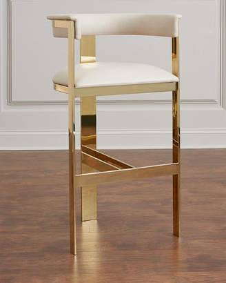 Interlude Home Darla Brass and Leather Counter Stool