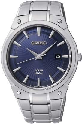 Seiko Men's Stainless Steel Blue Solar Dress Bracelet Watch