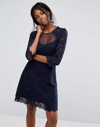 Oasis Lace Sleeve Skater Dress