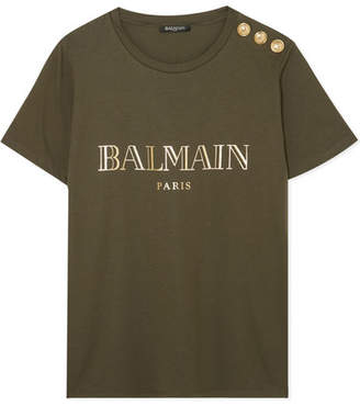 Balmain Button-embellished Printed Cotton-jersey T-shirt - Army green