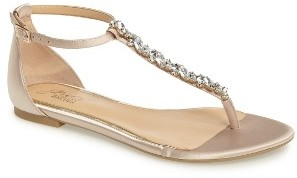 Women's Jewel Badgley Mischka Carrol Embellished T-Strap Sandal $79.95 thestylecure.com