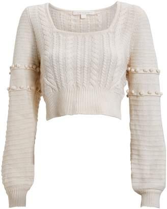 Jonathan Simkhai Cropped Wool Cable Knit Sweater
