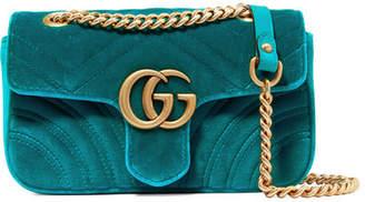 Gucci Gg Marmont Mini Quilted Velvet Shoulder Bag - Blue