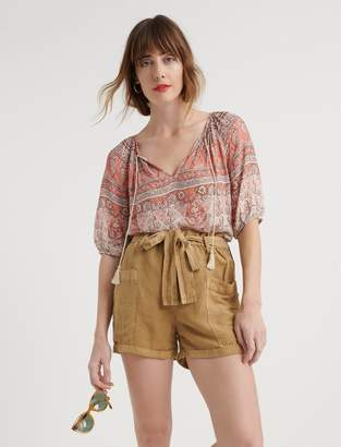 Lucky Brand Printed Kelly Peasant Top