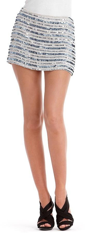 Gryphon Crocheted Sequin-Striped Miniskirt