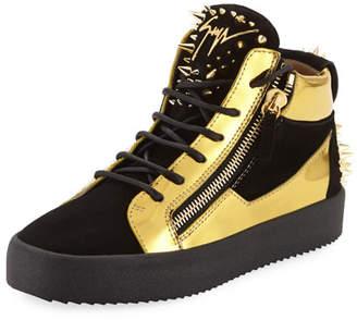 Giuseppe Zanotti Men's Studded Suede & Metallic Leather High-Top Sneakers