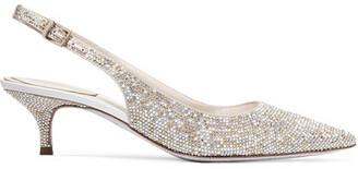 René Caovilla - Swarovski Crystal-embellished Satin Slingback Pumps - Silver $1,725 thestylecure.com