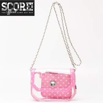 clear PU Cross Body Shoulder Bag for Game Day Chrissy Aurora Pink & White by SCORE! The Official Game Day Bag Two Piece Set
