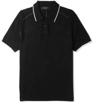 Rag & Bone Evens Slim-Fit Cotton, Silk And Cashmere-Blend Polo Shirt