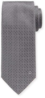 Salvatore Ferragamo Tonal Gancini Textured Solid Silk Tie, Gray