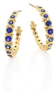 """Temple St. Clair Small Eternity Blue Sapphire& 18K Yellow Gold Hoop Earrings/0.4"""""""