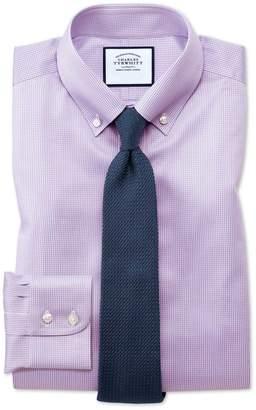 Charles Tyrwhitt Classic Fit Button-Down Non-Iron Twill Puppytooth Lilac Cotton Dress Shirt Single Cuff Size 15.5/34