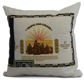 Simply Daisy, 20 x 20 Inch, Cigar Box Front, Geometric Print Pillow, Green