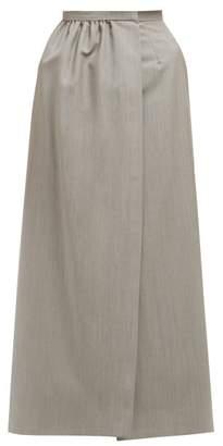 Edward Crutchley Split Front Wool Midi Skirt - Womens - Light Grey