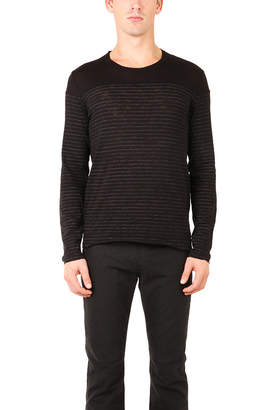 Warehouse Atm By Anthony Thomas Melillo ATM Striped Crew Contrast Yoke Shirt