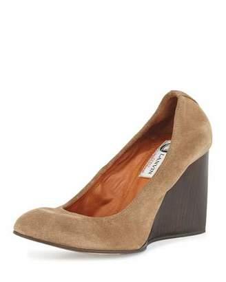 Lanvin Velvet Suede Ballerina Wedge Pump, Camel $595 thestylecure.com
