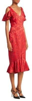 Zac Posen Cold-Shoulder Ruffle Midi Dress