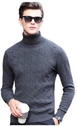 Express ED 100% Wool Men's Casual Sweater Turtleneck Textured Knit Jumper Pullover