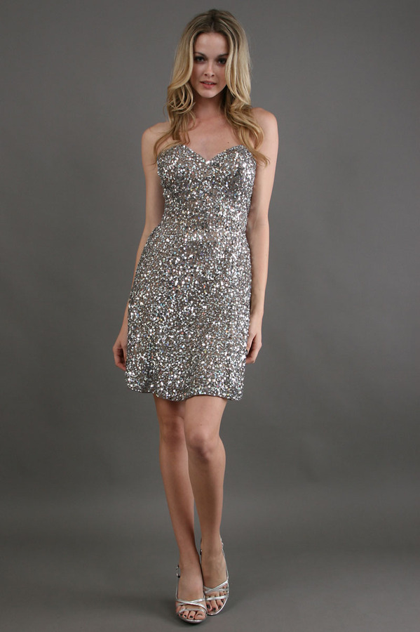 Scala Strapless A-Line Full Sequin