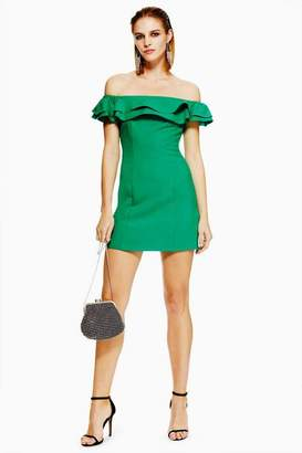 Topshop Petite Ruffle Bardot Mini Dress