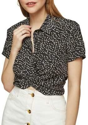 Miss Selfridge Polka Dot Twist Shirt