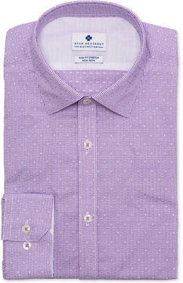 Ryan Seacrest Distinction Men Ultimate Slim-Fit Non-Iron Performance Stretch Lilac Dobby Stripe Dress Shirt
