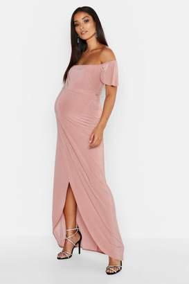 a9f88f9352cc3 boohoo Maternity Drape Sleeve Wrap Slinky Maxi Dress