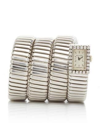 Bulgari Vintage 18K White Gold And Diamond Tubogas Watch