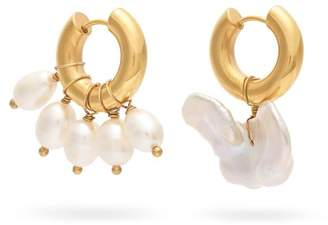 Timeless Pearly - Mismatched Baroque Pearl Hoop Earrings - Womens - Pearl