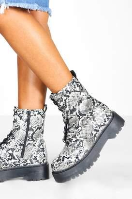 boohoo Snake Chunky Platform Hiker Boots