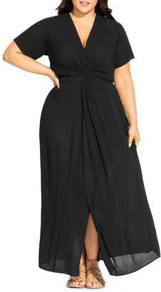 City Chic Plus Knot-Front Maxi Dress