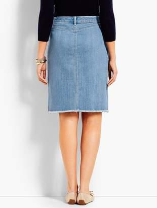 Talbots Frayed-Hem Denim Skirt-Vista Wash
