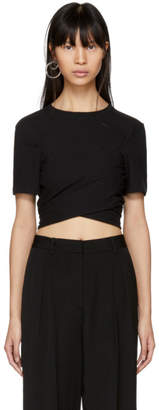 Alexander Wang Black High Twist Draped Cropped T-Shirt