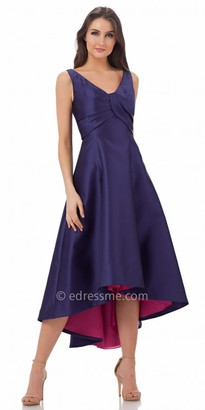 Carmen Marc Valvo Infusion Two Tone V Neck High Low Evening Dress $360 thestylecure.com