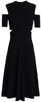 Maje Ristourne Cold-Shoulder Cutout Knitted Dress