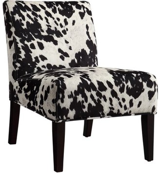 Weston Home Chelsea Lane Maxfield Black Cowhide Print Lounger Chair, Black Cowhide Chair