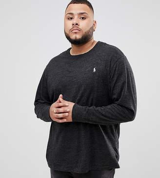 Polo Ralph Lauren Big & Tall long sleeve top player logo in charcoal marl