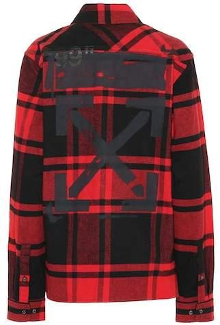 Plaid cotton-blend jacket