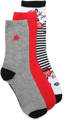 Steve Madden Embroidered Roses Crew Socks - 3 Pack - Women's